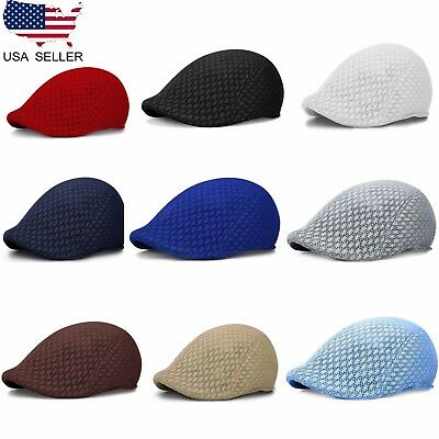 4b11a6c8dd5 Duck Mesh Summer Gatsby Cap Men s Ivy Hat Golf Driving Sun Flat Cabbie  Newsboy