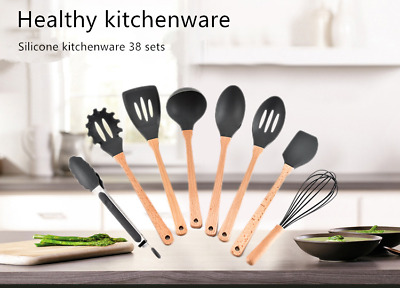 Kitchen Utensils Cookware Silicone Set Nonstick Wood Handle Cooking Tools 8 Pcs