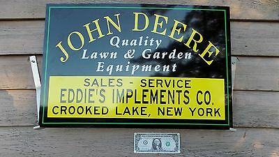 "New Early Style Personalized John Deere Lawn & Garden Equip Sign/ad 16""x2' Alum."