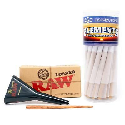 Elements Rice Paper KS Cone (50 Pack) with RAW Cone Loader