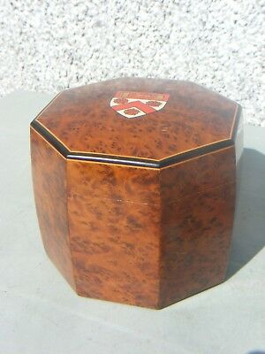 Antique  Tea Caddy Octagonal  Yew Wood  Crested Ware