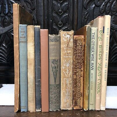 Lot of 12 Books ~ small size Antique Vintage Old, Decor Library Bookshelf