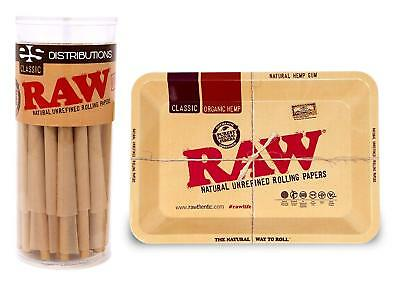 RAW Classic King Size Cones (50 Pack) and Mini Metal RAW Tray