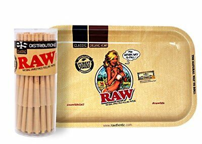 RAW Classic Lean Size Cones (50 Pack) with RAW Girl Rolling Tray