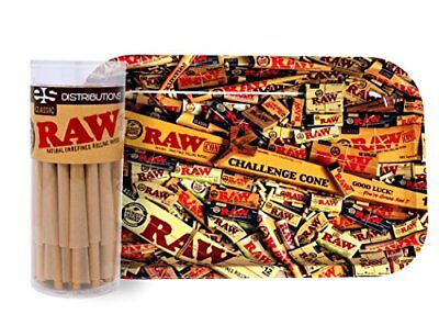 RAW Classic King Size Cones (50 Pack) with RAW Mixed Small Tray