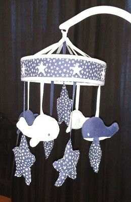 Wendy Bellissimo Whale Motorized Crib Mobile Upcycle custom blue stars attached