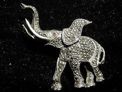 Vintage silver plate & Marcasite Elephant Brooch Lapel Pin Art Deco style