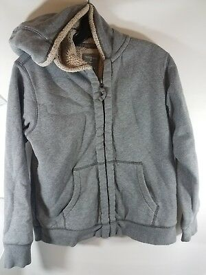 Lands End Sherpa Lined Hoodie Gray Boys Girls Size Large 14 16
