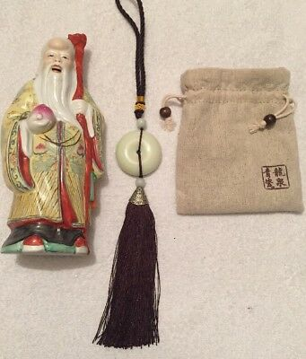 """Vintage Chinese Old Wise Man Ceramic 8"""" Hand Painted Figurine And Lucky Knot"""