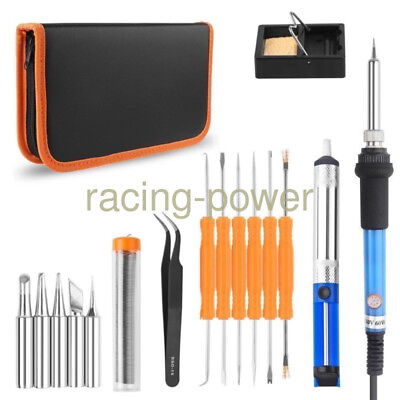 110V 60W Electric Soldering Iron Tool Kit with PU Carry Bag Adjustable Tempe US