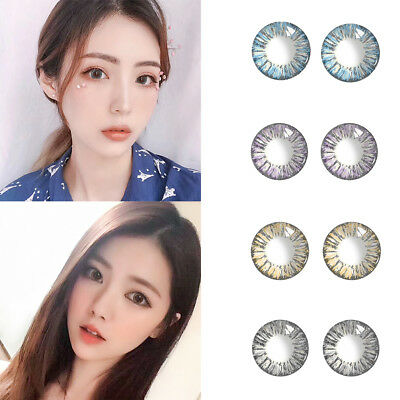 1 Pair Big Eyes Yearly Use Circle Coloured 3 Tone Eye Contact Lenses Con Clase