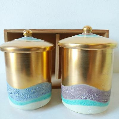 Antique Kutani ware lidded pair cups Japan retro popular rare beautiful EMS F/S!
