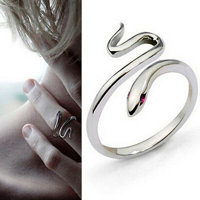 Charm Silver Plated Opening Adjustable Snake Finger Ring Women's Jewelry Gift LZ