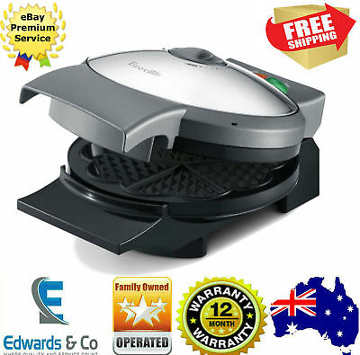 Breville BWM250 Variable Temp Waffle Maker Adjust Brownness 5 Waffles Belgian