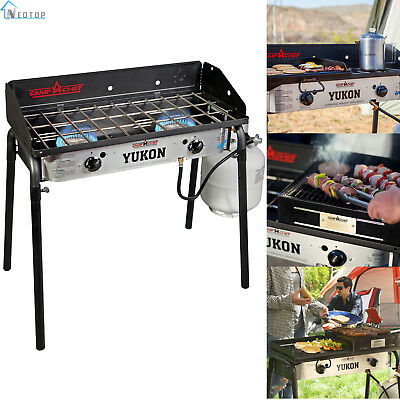 Two Burner Range Camp Stove Outdoor Portable Cooking Chef Camping Barbecue New