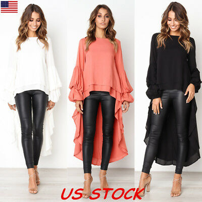 US Sexy Women Long Sleeve Asymmetrical Hem Clubwear Casual Tops Shirt Blouse New