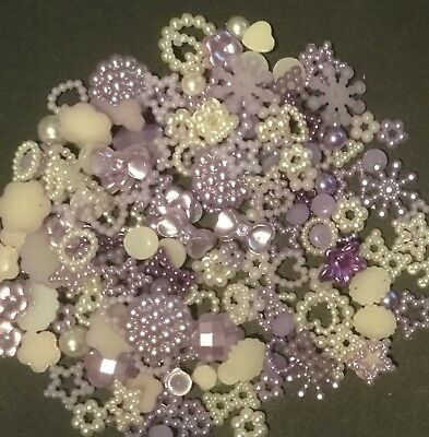 Mixed Bag 50 X Sparkling Pearl Resin Flatbacks /Lilac/ Hearts/Bows/Stars/Flower