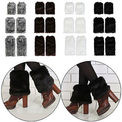 AU Faux Fur Leg Warmers Fluffy Shaggy Women Boot Shoes Covers Ankle Sleeve Muffs
