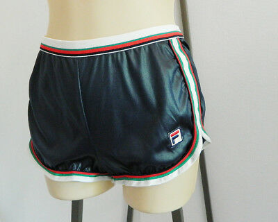 Vintage Women Fila Blue Shorts Elastic Waist Made in Italy NWOT Mini High Shiny