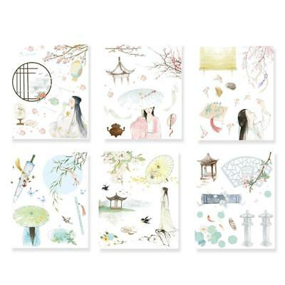 6pcspack Chinese Style cute ative Diary Album Label Sticker DIY Q