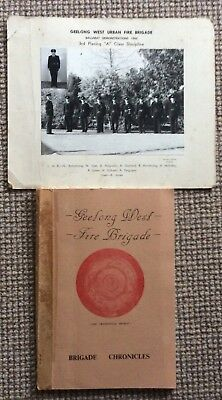 Geelong West Fire Brigade ....old Photo And Soft Covered Book About Its History
