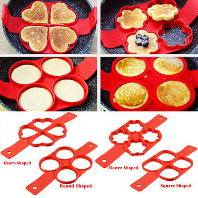 Silicone Pancake Mold Nonstick Cooking Tool Egg Cheese Cooker Pan Flip Egg Mold