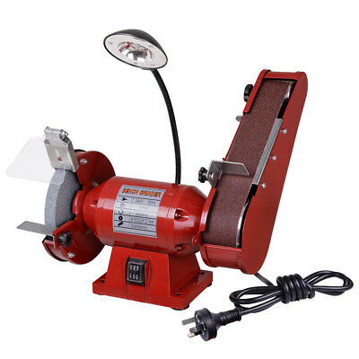 "6"" 1/2HP 375W Bench Grinder Linisher 150mm Grinding Wheel Sanding Belt LED Light"
