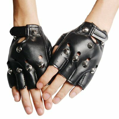 Unisex Cool BLACK Punk Rock Studded LEATHER LOOK FINGERLESS GLOVES FANCY DR O3T9