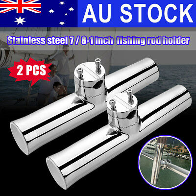 AU 2Pcs 316 Stainless Clamp on Fishing Boat Rod Holder For Rails 7/8'' to 1''