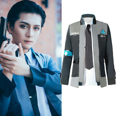 Detroit: Become Human Connor RK800 Suit Outfit Mens Jacket Coat Cosplay Costumes