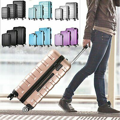 Hard Shell 4 Wheel Spinner Abs PC Travel Trolley Luggage Cabin Size Suitcase Bag