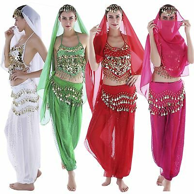 Womens Arabian Gypsy Indian Halloween Carnival Belly Dance Costume Set 12 Color