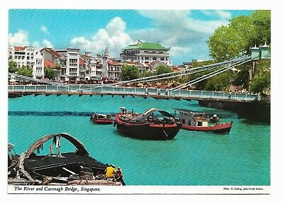 River & Cavenagh Bridge, Singapore Postcard Unused 921G
