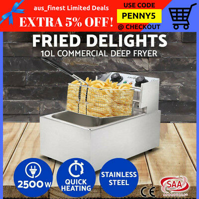 Commercial Electric Deep Fryer Single Frying Basket Benchtop Stainless Steel 10L