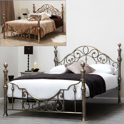 Copper / Brass Metal Bed Frame Luxury Vintage Shabby Chic Double King Size