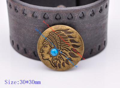 10x Antique Copper Navajo Indian Head Turquoise Leathercraft CONCHO SCREW BACK