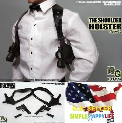 MG Toys 1/6 scale Black Shoulder Holster Set For John wick Hot Toys Phicen ❶USA❶
