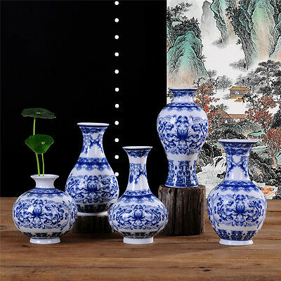 Chinese Traditional Style Vintage Blue and white Flower Vase Home Art Decoration