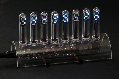 LED-Uhr, Tube himmelblau Nixie Design, LED-Basic programmierbar