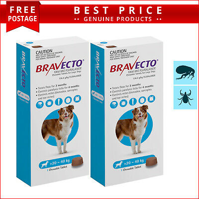 BRAVECTO 2 Doses Blue Pack for Dogs 20 to 40 Kg Tick and Flea Control