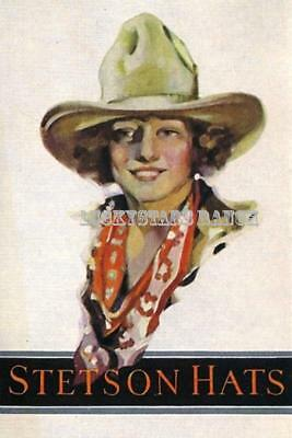 Stetson Hat Cowgirl Vintage Rodeo Print Poster Cowboy