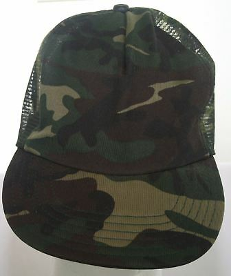 1799d5f2 Vintage 1970s Camouflage Trucker Hat Camo Costume Mesh Snapback Cap Made in  USA
