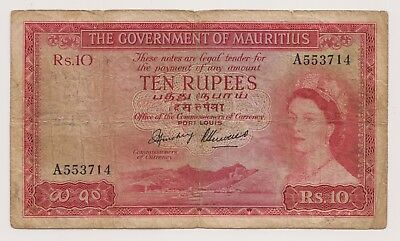 Mauritius 10 Rupees 1954 ND P28 First Year Signature Queen Elizabeth Prefix A