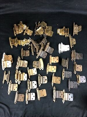 Assorted Lot Vintage Cabinet Door Hinges Brass Cabinet Maker 65 Piece