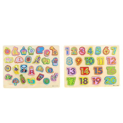 2 Sets Wooden Jigsaw Puzzle Baby Toddler Educational Toy Alphabet+Numbers