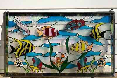 """Fish under the Sea Handcrafted stained glass window panel.34.5"""" x 20.5"""""""