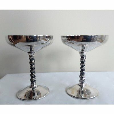 2 Vintage Valero Silver plated Champagne Wine Glass Chalice Spain Wedding