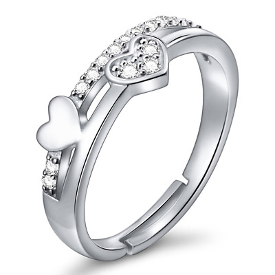 925 Sterling Silver Simple Adjustable Wrap Open Heart Ring for Women new hot