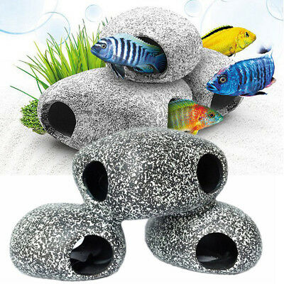 Stone Resin Rock Cave Aquarium Fish Tank Pond Ornament Decor Shrimp Breeding Hot