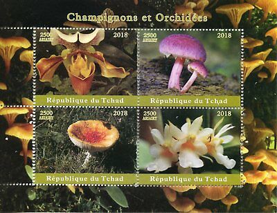 Chad 2018 MNH Mushrooms & Orchids 4v M/S Champignons Flowers Fungi Stamps